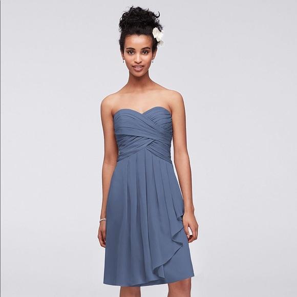 d221e31156eac David's Bridal Dresses & Skirts - David's Bridal Short Steel Blue Chiffon  Dress